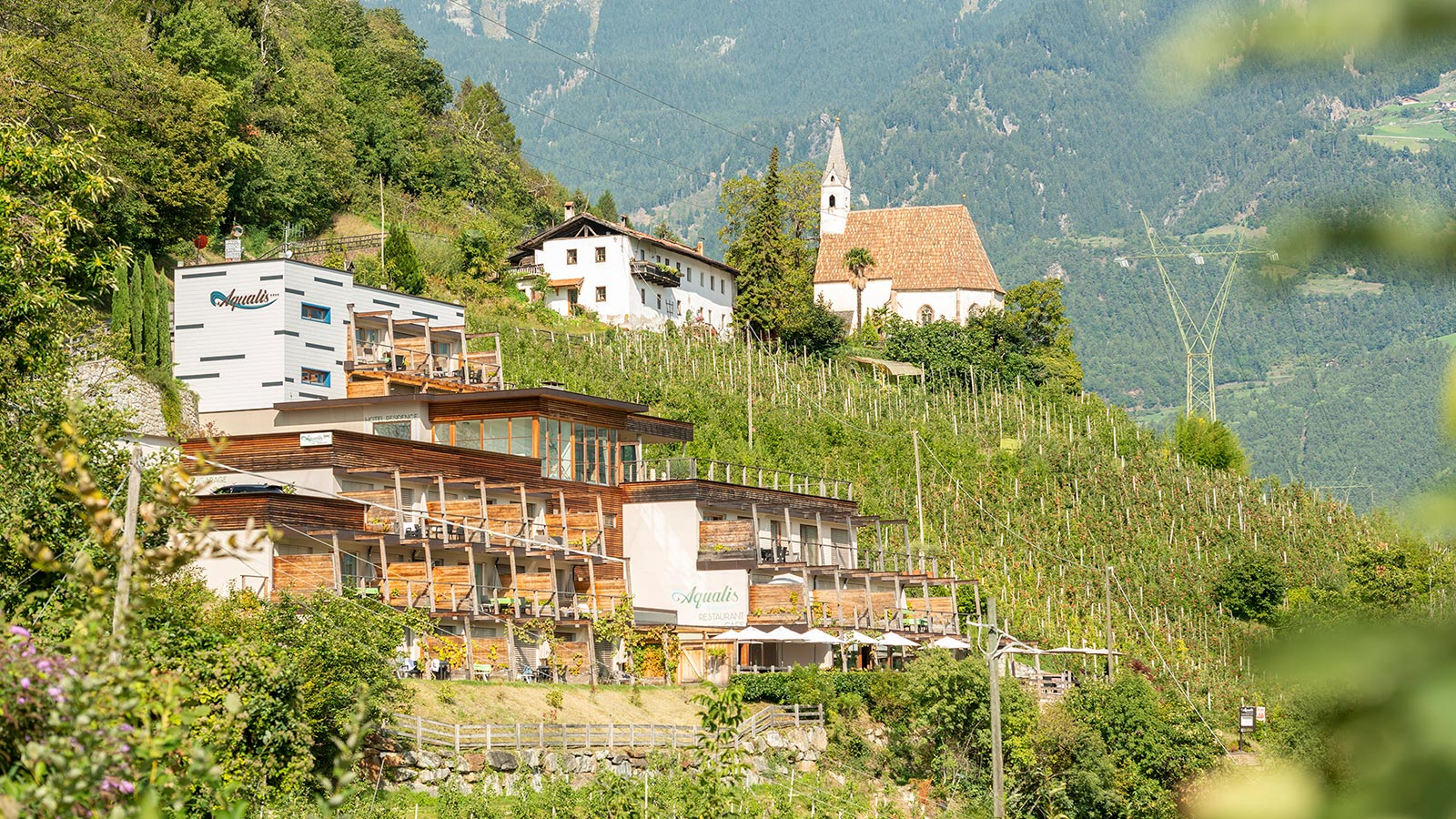 View of the Aqualis, our accommodation in Marlengo in South Tyrol
